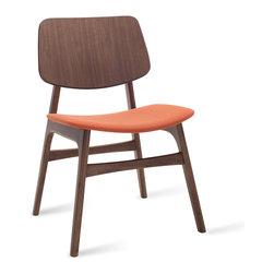 Bryght - Margo Carrot Fabric Walnut Dining Chair - A throwback to the 60s, the Margo dining chair brings character to a space with its sleek retro lines. Choose from a wide variety of upholstery options.
