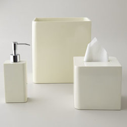 """Kassatex - Kassatex Lacquer Vanity Accessories - Sleek lacquer accessories for your bath. Select Ivory, Light Blue, or Black when ordering. Dimensions are approximate. Pump dispenser, 8""""T. Wastebasket, 9""""W x 6.5""""D x 10""""T. Tissue box cover, 5.5""""Sq. x 5.75""""T. Vanity tray, 11"""" x 6.25"""". Tumbler, 5""""T. Soap dish, 4.75"""" x 3.25"""". Imported."""