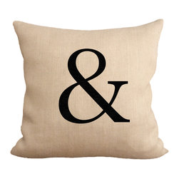 """Fiber and Water - Ampersand Pillow - No Pillow Insert. Cover Only - Ampersand, using a unique Trajan Pro font. Get your initials or entire name. Great for the family room or children's room. Hand-pressed onto natural burlap using water-based inks. Dimensions: 19""""x19"""". Front: 100% Sultana Burlap w/ Hand-Pressed Print. Back: 100% Natural Duck Cloth Canvas. French Seams & Surged Edges. Aluminum Hidden Zipper. Spot-Clean Only. As always, Made in Maine."""