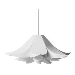 Petal Puzzle Pendant Light - This crafty flower pendant disperses even light while creating a cool atmosphere around your home. Made of non-flammable plastic, the shade fits together like an origami puzzle without the aid of tools or glue and looks just as magnificent hanging above your kitchen table as it does your entranceway or bedroom.Please note: listing is for pendant only. Cord is not included.