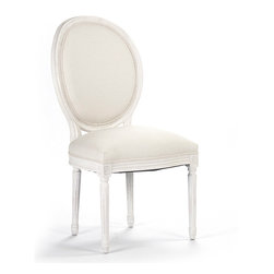 Kathy Kuo Home - Pair Madeleine French Country Oval Cotton White Antique Oak Dining Chair - The comfort and elegance of French Country style shines through in this oppulent oak chair finished in antique white. Crisp, white cotton upholstery adds luxurious comfort over the seat and back. The slim silhouette is perfectly proportioned for smaller sitting areas and dining rooms.