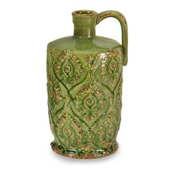 Green Vintage Look Pitcher Vase - *In a cheerful green glaze, the Rebecca pitcher vase has a damask pattern imprint and a shy rustic side.