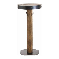 Arteriors - Arteriors Aidan Wood/Iron Clad Bar Table - Aidan Wood/Iron Clad Bar Table with Natural Wax/Oxidized Iron/4 Hooks