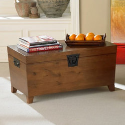 Southern Enterprises - Pyramid Trunk Storage Bench Coffee Table - CK1224 - Shop for Tables from Hayneedle.com! You multi-task shouldn't your furniture? Well say hello to the Pyramid Trunk Storage Bench Coffee Table! Display your cool stuff on the flat top and stow your not-so-cool stuff inside. The deep trunk space is ideal for storing extra blankets books and magazines. With its clean lines and black-finished hardware this practical and pretty piece will look at home wherever you put it. Made of durable MDF wood with pine veneer highlighted with a lasting Mission Oak finish feet are solid pine. This coffee table will stand up to years of use maybe even abuse. You can't go wrong with the Pyramid Trunk Storage Bench Coffee Table - this is where form meets multi-function. Tip: You can pair this versatile coffee table with the matching Pyramid Trunk End Table for a complete set. Dimensions: 38L x 21W x 18H in.