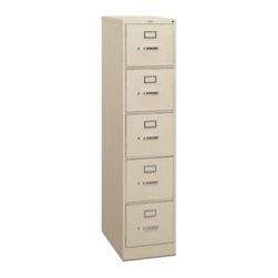 HON 315 Series 5-Drawer Vertical Filing Cabinet - Stretching five feet high, this five drawer 315 File Cabinet is part of the Hon 310 Series. Tall and handsome, this cabinet offers much storage space in both widths. Each drawer extends on smooth ball bearing extensions, and has thumb latches, label slots, and they lock with a turn of a key. Order this file cabinet and get vertical!About the HON CompanyHeadquartered in Muscatine, Iowa, the HON Company is established as a leader in the office furniture industry. The HON Company designs and manufactures products including chairs, files, panel systems, tables, and desks. With several national manufacturing facilities, the company provides products through a system of dealers and retailers throughout the United States. In an effort to think and act green, the HON Company uses less packing material, reduces their amount of fabric waste, and uses recycled wood from other furniture.
