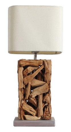 ParrotUncle - Rustic Wooden Table Lamp Home Lighting Fixtures - This rustic style desk lamp is decorated with driftwood around skeleton. It looks natural and stylish. A large fabric shade is included. Handmade Wooden Table Lamp with Fabric Shade