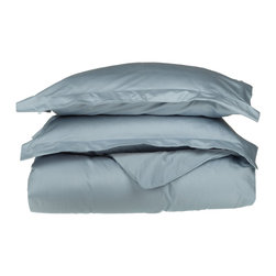 530 Thread Count Egyptian Cotton Twin Light Blue Solid Duvet Cover Set - 530 Thread Count Egyptian Cotton Twin Light Blue Solid Duvet Cover Set