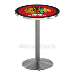 Holland Bar Stool - Holland Bar Stool L214 - Stainless Steel Chicago Blackhawks Pub Table - L214 - Stainless Steel Chicago Blackhawks Pub Table  belongs to NHL Collection by Holland Bar Stool Made for the ultimate sports fan, impress your buddies with this knockout from Holland Bar Stool. This L214 Chicago Blackhawks table with round base provides a commercial quality piece to for your Man Cave. You can't find a higher quality logo table on the market. The plating grade steel used to build the frame ensures it will withstand the abuse of the rowdiest of friends for years to come. The structure is 304 Stainless to ensure a rich, sleek, long lasting finish. If you're finishing your bar or game room, do it right with a table from Holland Bar Stool.  Pub Table (1)