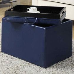 "Convenience Concepts - Accent Storage Ottoman, Blue - Available in 6 different colors the Accent Storage Ottoman is sure to brighten up any room while providing additional storage. The removable lid provides easy access, and serves as a tray. Whether you're using it for storage, a table top, or a lap tray you'll be sure to enjoy it for years to come.; Available in 6 Brilliant Colors; Removable Lid; Double Sided Lid Features Multifunctional Tray; Provides Additional Storage Space; Materials: Solid Wood, Flame Retardent Foam, Faux Leather; Weight: 14 lbs; Dimensions: 23""L x 15.75""W x 15.75""H"