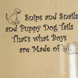 Decals for the Wall - Wall Decal Sticker Quote Vinyl Lettering Large Boy's Room Puppy Dog Tails B23 - This decal says ''Snips and snails and puppy dog tails, that's what boys are made of''