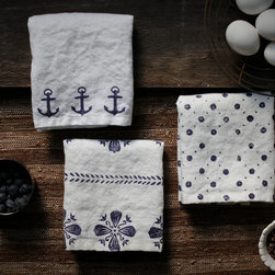 Set of Three Hand Block Printed Linen Tea Towels - Set of three 100% pure flax linen tea towels, block printed by hand with a navy anchor design, vintage floral dot design, and cottage flower design.. A soft white linen, handmade, with mitered corners. By Karen M Smith, The Seaworn Sail