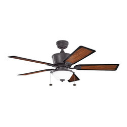 "Kichler - Cates 52"" Ceiling Fan Distressed Black - Kichler Cates Model KL-300162DBK in Distressed Black with All Weather ABS Walnut Shadowed with Grooves Finished Blades."
