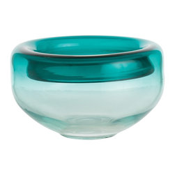 Arteriors - Kaiden Bowl, Turquoise - The turquoise or purple ombre coloration and unique rolled topped edge makes this bowl a great centerpiece as well as unique serving bowl. Size and finish may vary.