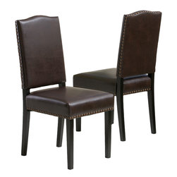 Great Deal Furniture - Stuart Brown Leather Dining Chair (Set of 2) - The Stuart dining chair is upholstered in opulent marbled brown bonded leather, accentuated with bronze studs along the perimeter, and stands on espresso stained legs. Stylish and comfortable, you will enjoy having this dining chair in your home.