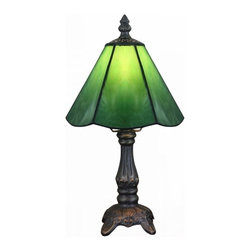 "ParrotUncle - 6"" Tiffany Stained Glass Shade Zinc Base Vintage Table Lamps, Green - 6"" Tiffany Stained Glass Shade Zinc Base Vintage Table Lamps"