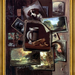 """John Frederick Peto-16""""x20"""" Framed Canvas - 16"""" x 20"""" John Frederick Peto Patch Painting framed premium canvas print reproduced to meet museum quality standards. Our museum quality canvas prints are produced using high-precision print technology for a more accurate reproduction printed on high quality canvas with fade-resistant, archival inks. Our progressive business model allows us to offer works of art to you at the best wholesale pricing, significantly less than art gallery prices, affordable to all. This artwork is hand stretched onto wooden stretcher bars, then mounted into our 3"""" wide gold finish frame with black panel by one of our expert framers. Our framed canvas print comes with hardware, ready to hang on your wall.  We present a comprehensive collection of exceptional canvas art reproductions by John Frederick Peto."""