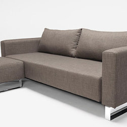 """Cassius Deluxe Sleek Excess Lounger By Innovation Living - The Cassius Sleek sleeper sofa doesn't have """"excess"""" in the name for nothing - it's got a super-comfortable mattress, 10"""" thick in all, with pocket springs and a cushy layer of foam on top to give you a very bed-like sleeping arrangement."""