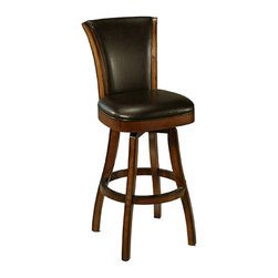 "Pastel Furniture - Pastel Glenwood Swivel Barstool - Russet Cordovan - Brown - 26 Inch - The Glenwood Barstool is a beautifully made barstool that has a simple yet elegant design that is perfect for any decor. An ideal way to add a classic flair to any dining or entertaining area in your home. This swivel barstool features a quality wood frame with sturdy legs and foot rest finished in Feher black. The padded seat is upholstered in black leather offering comfort and style. Available in 26"" counter or 30"" bar height. Assembled dimensions for this barstool:41.7H x 18.89W x 23.62D."