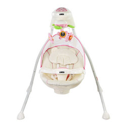 Mia Moda - Altalena Swing - Your baby will be swinging in style to his/her own collection of songs created by you with the Altalena Swing and Songbook by Mia Moda. This swing features a soft fleece seat cover for a cozy, soothing environment for your baby to relax and take them to a new world while stimulating baby's visual and audio senses. Listen to preloaded nature sounds and other musical selections. Other features include motion and lights providing a variety of soothing affects for your baby. Features: -Control head with preloaded music.-Rotating mobile with light.-Removable head rest, canopy and tray.-3 Position seat recline with 5-point restraint harness keeps baby secure.-Swivel seat with choice of three swing motions.-5 Optional swing speeds.-3 Optional swing time setting 8 mins, 15 mins, 30 mins, sturdy steel frame legs fold easily for travel and or storage.-From birth to 25 lbs (11.3 Kg) or until a child becomes active and can climb out of the seat.-Collection: Altalena.-Distressed: No.Dimensions: -Runs on AC/DC adapter or 4'' D'' batteries (not included).-43'' H x 43'' W x 29'' D, 20 lbs.-Overall Product Weight: 20 lbs.