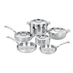 Cuisinart - Cuisinart French Classic Triple Ply Stainless Steel 10-Piece Cookware Set - Professional triple ply construction features an aluminum core bonded to an 18/10 stainless interior and high-polished stainless exterior