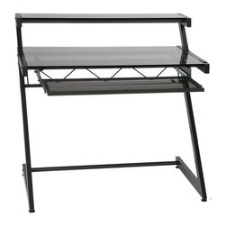 Euro Style - Euro Style Z Deluxe Small Desk and Shelf X-40472 - The 'Z's are the structural sidebars of this remarkably strong desk.  Top and main shelves are durable tempered glass and the cross bar is reinforced with angled spars.  Perfect for heavy thinking.