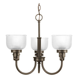 Progress Lighting - Progress Lighting P4688-74 Archie Three-Light Venetian Bronze Chandelier Clear H - Archie Collection three-light chandelier is a standout in any room! Provide a fun and fashionable way to light your home with finely crafted strap and knob details, clear double prismatic glass, and painted Venetian Bronze finish.The authentic, prismatic style glass shade diffuses light to provide functional and stylish illumination. Available coordinating fixtures in this collection include wall and ceiling styles.