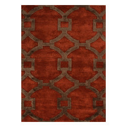 Jaipur Rugs - Modern Geometric Pattern Red /Orange Wool/Silk Tufted Rug - CT04, 8x11 - Over scaled sharp geometrics characterize this striking contemporary range of hand tufted rugs. The high/low construction in wool and art silk creates texture and surface interest and gives a look of matt and shine.