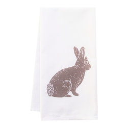 """artgoodies - Organic Bunny Towel - This high quaility 100% certified organic cotton tea towel has been printed with one of my original linocut block prints! It measures 20""""x28"""" and comes wrapped in a green ribbon made of 100% recycled bottles! Nice and absorbent for drying dishes, looks great when company is over, and makes a great housewarming gift!"""