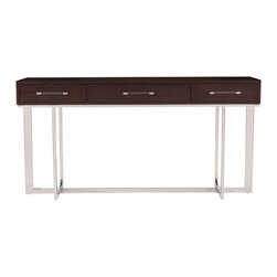 Kathy Kuo Home - Flynn Modern Classic Espresso Stainless Steel Lucite Console Sideboard - Simple design and clean lines shine, bringing storage and style to your dining or living room. Elegant espresso hardwood houses soft close drawers, providing a place for all your serve ware. The polished stainless steel base sits on right angles, supported with a clear, Lucite rod for an open, airy feel.