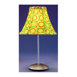 "Lumisource - Table Lamp - Retro (Retro Guacamole) - Choose Shade: Retro GuacamoleGo retro with this stylish, modern table lamp.  Streamline contemporary metal frame has a silvery powder-coated finish.  Stylish print fabric shade, inspired by patterns from the 1960's, comes in your choice of six popular colors.  You'll want a pair!  Jazz up your mantel, end table or lounge space with this colorful, eclectic Powder Coated Table Lamp w/ Fabric Shade - Choose Color, an imaginative piece reflective of modern charm and appeal. * Available in Mango, Guacamole, Cherry, Licorice, Peppermint, and Wintergreen.. Fabric shades. Powder-coated silver pole and base. 9"" W. x 15.5"" H"