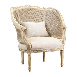 "Frontgate - Regence Double Cane Arm Chair - Classic European styling with hand-carved detailing on the wood frame. Tight upholstered seat. Optional 14"" x 22"" pillow. Coordinates with other items from our French Heritage Country Home Collection. With a high cane back enveloping you, you'll feel right at home in our Regence Double Cane Arm Chair. The hand-carved wood and substantial dimensions are offset by light caning - giving the piece Parisian sophistication that will feel equally comfortable in a variety of interiors.  .  .  .  ."