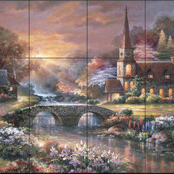 The Tile Mural Store (USA) - Tile Mural - Jl - Peaceful Reflections - Kitchen Backsplash Ideas - This beautiful artwork by James Lee has been digitally reproduced for tiles and depicts a beautiful church next to a flowing stream.  This garden tile mural would be perfect as part of your kitchen backsplash tile project or your tub and shower surround bathroom tile project. Garden images on tiles add a unique element to your tiling project and are a great kitchen backsplash idea. Use a garden scene tile mural for a wall tile project in any room in your home where you want to add interesting wall tile.