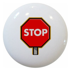Carolina Hardware and Decor, LLC - Stop Sign Ceramic Cabinet Drawer Knob - New 1 1/2 inch ceramic cabinet, drawer, or furniture knob with mounting hardware included. Also works great in a bathroom or on bi-fold closet doors (may require longer screws). Item can be wiped clean with a soft damp cloth. Great addition and nice finishing touch to any room!