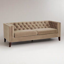 Mushroom Velvet Kendall Sofa - If you haven't shopped for furniture at World Market, then you are in for a treat. They offer high-quality products at unbeatable prices. Take a look at this stunning hand-tufted midcentury velvet sofa.