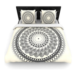 "Kess InHouse - Famenxt ""Black & White Boho Mandala"" Geometric Cotton Duvet Cover (Twin, 68"" x 8 - Rest in comfort among this artistically inclined cotton blend duvet cover. This duvet cover is as light as a feather! You will be sure to be the envy of all of your guests with this aesthetically pleasing duvet. We highly recommend washing this as many times as you like as this material will not fade or lose comfort. Cotton blended, this duvet cover is not only beautiful and artistic but can be used year round with a duvet insert! Add our cotton shams to make your bed complete and looking stylish and artistic!"