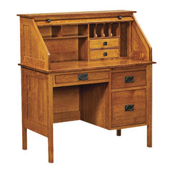 "Chelsea Home Furniture - Chelsea Home Harvard 42 Inch Rolltop Desk in White Quarter Sawn Oak - For classic American style furniture and quality handcrafted construction, add the Harvard 42"" Rolltop Desk to your home or office. Shown in durable Quarter Sawn White Oak in a Michaels Cherry finish, this desk has the wherewithal to be passed down from generation to generation. Its horizontal and clean lines give the desk a contemporary and geometric feel. Great as a computer desk or drafting table, this desk has all the storage and functionality you need to keep you organized with 6 full extension dovetail drawers and over-the-knee pencil drawer. Chelsea Home Furniture proudly offers handcrafted American made heirloom quality furniture, custom made for you. What makes heirloom quality furniture? It's knowing how to turn a house into a home. It's clean lines, ingenuity and impeccable construction derived from solid woods, not veneers or printed finishes over composites or wood products _ the best nature has to offer. It's creating memories. It's ensuring the furniture you buy today will still be the same 100 years from now! Every piece of furniture in our collection is built by expert furniture artisans with a standard of superiority that is unmatched by mass-produced composite materials imported from Asia or produced domestically. This rare standard is evident through our use of the finest materials available, such as locally grown hardwoods of many varieties, and pine, which make our products durable and long lasting. Many pieces are signed by the craftsman that produces them, as these artisans are proud of the work they do! These American made pieces are built with mastery, using mortise-and-tenon joints that have been used by woodworkers for thousands of years. In addition, our craftsmen use tongue-in-groove construction, and screws instead of nails during assembly and dovetailing _both painstaking techniques that are hard to come by in today's marketplace. And with a wide array of stains available, you can create an original piece of furniture that not only matches your living space, but your personality. So adorn your home with a piece of furniture that will be future history, an investment that will last a lifetime."