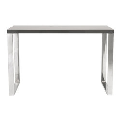 "Euro Style - Dillon Desk 48""X 24"" - Gray Lacquer/Polished Stainless Steel - 8 square feet of solid, functional, never-go-out-of-style work surface.  Available in a white lacquer or gray lacquer top, the Dillon desk sits firmly on chromed stainless steel base.  Office.  Studio.  Reception.  Let's get to work!"