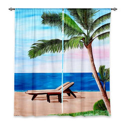 "DiaNoche Designs - Window Curtains Lined by Martina Bleichner Strand Chairs on Caribbean - Purchasing window curtains just got easier and better! Create a designer look to any of your living spaces with our decorative and unique ""Lined Window Curtains."" Perfect for the living room, dining room or bedroom, these artistic curtains are an easy and inexpensive way to add color and style when decorating your home.  This is a woven poly material that filters outside light and creates a privacy barrier.  Each package includes two easy-to-hang, 3 inch diameter pole-pocket curtain panels.  The width listed is the total measurement of the two panels.  Curtain rod sold separately. Easy care, machine wash cold, tumble dry low, iron low if needed.  Printed in the USA."