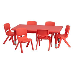 "Flash Furniture - Adjustable Red Plastic Activity Table Set with 6 School Stack Chairs - This table set is excellent for early childhood development. Primary colors make learning and play time exciting when several colors are arranged in the classroom. The durable table features a plastic top with steel welding underneath along with height adjustable legs. The chair has been properly designed to fit young children to develop proper sitting habits that will last a lifetime.; Children's Rectangular Table Set; Set Includes 6 Stackable School Chairs and Rectangle Table; Primary Red Color; 24""W x 48""L Rectangular Plastic Activity Table; 24""W x 48""L Rectangular Plastic Activity Table; 220 lb. Static Load Capacity; Safety Rounded Corners; Welded Steel Frame under top provides extra stability; Adjustable Height Steel Legs with Floor Glides Extend Out 9""; Height Adjustable Feature Accommodates Children up to Age 7; Table Size: 24""W x 48""L x 14.5"" - 23.75""H; School Chair with 10.5"" Seat Height; 154 lb. Static Load Capacity; Stacks up to 10 Chairs High; Designed to encourage proper sitting habits; Polypropylene Plastic Shell; Contoured One-Piece Shell; Lightweight Design; Easy To Clean; No Metal Parts prevent injuries to small children; Recommended for Preschool - Kindergarten Ages; Weight: 52 lbs; Overall Dimensions: 24""W x 48""D x 14.5"" - 23.75""H"