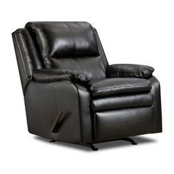Simmons Soho Bonded Leather Rocker Recliner - Enjoy a peaceful afternoon, as you savor your beverage, listen to music or read a book, on the Simmons Soho Bonded Leather Rocker Recliner. This beautifully designed, comfortable rocker recliner features a pillow top seat, a pub back and soft, plush padding. A strong construction of hardwood and steel frame, Dacron-wrapped high density foam cushioning and bonded leather upholstery gives this recliner its durability. The recliners onyx finish lends it a stylish flair.