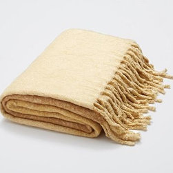 """Faux Mohair Ombre Woven, 50 x 70"""", Gold - The silky, fluffy feel of mohair is met with a visually soft ombre effect for an exceptionally cozy throw. 50 x 70"""" Made of 100% acrylic. Dry-clean. Imported."""