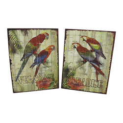"Zeckos - Set of 2 Tropical Parrot ""Welcome/Paradise"" Metal Wall Signs - This set of metal signs is the perfect addition to any tropically themed room, welcoming guests to paradise with colorful images of parrots, palm trees, and hibiscus flowers. Each sign measures 12 3/4 inches long, 9 1/2 inches wide, and has 2 picture hangers on the back. These signs look great in homes, restaurants, bars, and hotels, complementing a tropical beach vibe."