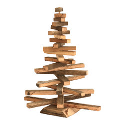 Barn Wood Christmas Tree, Small - This delightfully rustic Christmas tree is made from reclaimed barn wood salvaged from barns in rural Missouri. The branches can be swiveled for an infinite variety of looks. Great as a stand alone piece or use to display Christmas lights and ornaments.