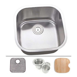 """TCS Home Supplies - 20 Inch Stainless Steel Undermount Single Bowl Kitchen Sink - Undermount Kitchen Sink. Single Bowl. Sink comes with Matching Protective Grid, Deluxe Basket Strainer, Eco-Friendly Bamboo Cutting-board for FREE! Dimensions 20-1/8"""" x 20-1/8"""" x 9"""". 16 Gauge Stainless Steel. Brushed Satin Stainless Steel Finish."""