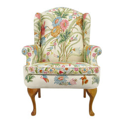 Wool Crewel Upholstered Wing Chair, Colorful Floral - The classic wingback chair gets a beautiful modern makeover with this gorgeous floral fabric. It will be the center of attention in any room.
