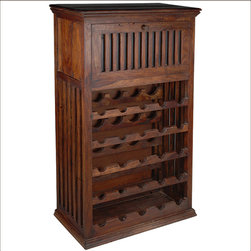 Solid Hardwood 25 Bottle Holder Wine Rack Liquor Storage Cabinet - Keep your vino and spirits organized and within easy reach with Solid Hardwood 25 Bottle Holder Wine Rack Liquor Storage Cabinet.