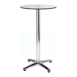 Euro Style - Glass Top Bar Table w Stainless Steel Base - Minimalist best describes this pub table with its round tempered glass top, aluminum base and chrome steel adjustable feet.  So pour a pint of ale for yourself and a few of your closest friends and enjoy some time around the table.  You'll find maximum stability is built into these bar tables with four-pronged feet and stainless steel columns.  Glass top enhances the looks of this classic style with spacious surface for happy hour service or full entertainment.  Imagine the possibilities of owning this distinctive pub table that can be placed both outdoors and inside. * Clear tempered glass table top. Stainless steel base. Aluminum column. Adjustable casters. 24.5 Dia. X 42 in. H (27 lbs.)