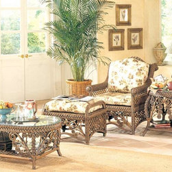Spice Island Wicker - 4 Pc Club Chair Set (Callie Coffee - All Weather) - Fabric: Callie Coffee (All Weather)Create your own restful haven with this sunroom set.  Stretch out on the spaciously crafted lounge chair and ottoman and enjoy the conveniences of service at hand on the coffee and end tables.  Each piece is detailed with an international flair for any decor.  Relax in style with all the comforts of home in matching surroundings when you buy this exquisitely beautiful and luxuriously comfortable four-piece set, including a fine quality coffee table, a ruggedly beautiful side table, an exquisitely comfortable and relaxing arm chair, and a tough, sturdy ottoman.  Customize this traditionally styled set by selecting from a wide choice of wicker frame finishes and seat cushion fabric coverings. * Includes Armchair, Ottoman, End Table and Coffee Table. Solid Wicker Construction. For indoor, or covered patio use only. Includes all cushions and glass. Armchair: 31.5 in. W x 35 in. D x 38.5 in. H. Ottoman: 26.75 in. W x 22 in. D x 19 in. H. Coffee Table: 24 in. W x 43 in. D x 17.5 in. H. End Table:    26 in. x 30 in. x  24 in.