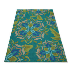 Grandin Road - Lucia Outdoor Rug - Green, 5' x 8' - Polypropylene/acrylic blend. UV-stabilized, water-and stain-resistant. Simply hose clean. Design varies by size. Enriched by abstract, eight-petaled lotus blossoms, our vibrant Lucia Outdoor Rug is tough enough for decorating outdoor areas and worthy of gracing high-traffic indoor rooms. Brilliant hues of blue and green combine with neutrals to create a floor covering that really pops.  .  .  .  . Imported.