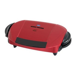 Applica - George Foreman Removable Plate Grill Red - George Foreman Removable-Plate Grill f or 5 Servings - Red Removes up to 42% of Fat from burgers.